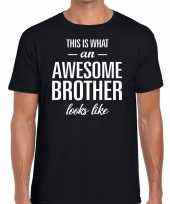 Goedkope awesome brother tekst t-shirt zwart heren