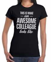 Goedkope awesome colleague tekst t-shirt zwart dames