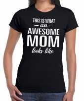 Goedkope awesome mom tekst t-shirt zwart dames