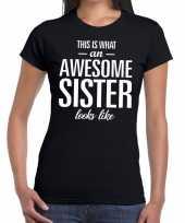 Goedkope awesome sister tekst t-shirt zwart dames