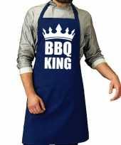 Goedkope bbq king barbeque schort keukenschort kobalt blauw heren