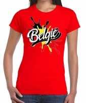 Goedkope belgie t-shirt spetter rood dames