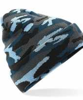 Goedkope blauwe camouflage gebreide wintermuts volwassenen