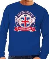 Goedkope blauwe engeland drinking team sweater heren