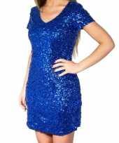 Goedkope blauwe glitter pailletten disco jurkje dames