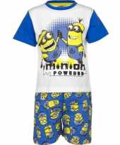 Goedkope blauwe minion powered korte pyjama jongens