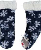 Goedkope blauwe warm gevoerde rendier kerst huissokken kinderen