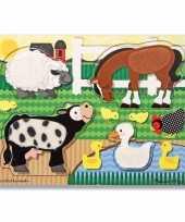 Goedkope boerderijdieren voel puzzel hout
