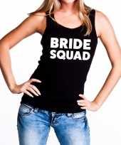 Goedkope bride squad vrijgezellenfeest tanktop mouwloos shirt zwart dam