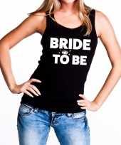 Goedkope bride to be vrijgezellenfeest tanktop mouwloos shirt zwart dam