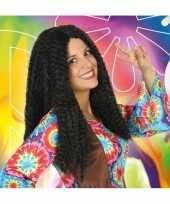 Goedkope bruine hippie flower power verkleed pruik dames