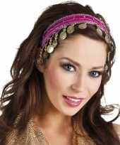 Goedkope buikdanseres hoofdband diadeem fuchsia roze dames verkleedaccess