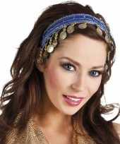 Goedkope buikdanseres hoofdband diadeem kobalt blauw dames verkleedaccess