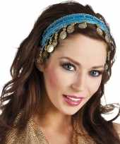 Goedkope buikdanseres hoofdband diadeem turquoise blauw dames verkleedacc