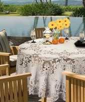Goedkope buiten tafelkleed tafellaken ivoor wit amira rond 10149857