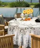 Goedkope buiten tafelkleed tafellaken wit amira rond