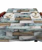 Goedkope buiten tafelkleed tafelzeil blauw houten planken