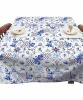 Goedkope buiten tafelkleed tafelzeil delfts blauwe tegels