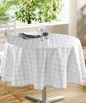Goedkope buiten tafelkleed tafelzeil wit grijs motief rond