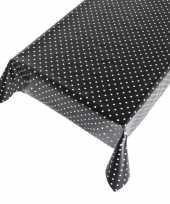 Goedkope buiten tafelkleed tafelzeil zwart polkadot