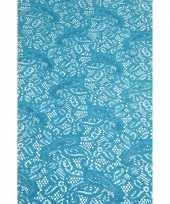 Goedkope buiten tafelloper aqua blauw antislip