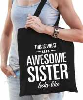 Goedkope cadeau zus tas katoen awesome sister zwart