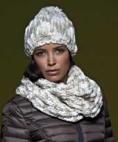 Goedkope casual grof gebreide sjaal naturel