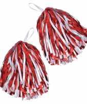 Goedkope cheerballs pom poms rood wit