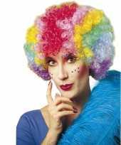 Goedkope clownspruik multikleuren dames