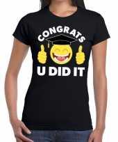 Goedkope congrats u did it t-shirt geslaagd afgestudeerd zwart dames