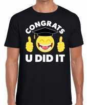 Goedkope congrats u did it t-shirt geslaagd afgestudeerd zwart heren