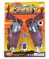 Goedkope cowboy pistolen zilver holster stuks
