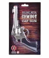 Goedkope cowboy plaffertjes pistool zilver schots
