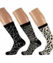 Goedkope dames fashion sokken pak zwart wit maat type 10134421