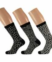 Goedkope dames fashion sokken pak zwart wit maat type