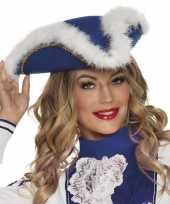 Goedkope dansmarieke hoed blauw wit dames