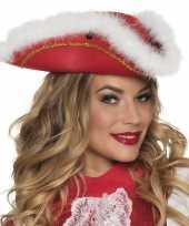 Goedkope dansmarieke hoed rood wit dames