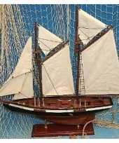 Goedkope decoratie houten model tweemaster zeilschip 10141080