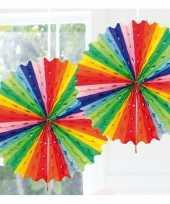 Goedkope decoratie waaier regenboog kleuren
