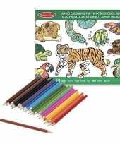 Goedkope dieren kleurboek kleurpotloden set