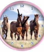 Goedkope dieren wandklok paarden roze