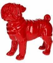 Goedkope dierenbeeld mopshond rood