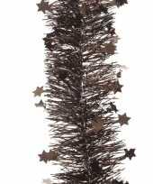 Goedkope donker bruine kerstversiering folie slinger ster 10104195