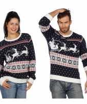 Goedkope donkerblauwe kerst trui rendieren slee volwassenen