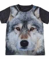 Goedkope donkergrijs t-shirt wolf kinderen