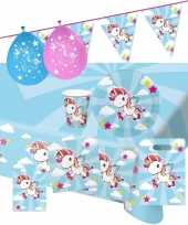 Goedkope eenhoorn thema kinderfeestje versiering pakket personen 10147784