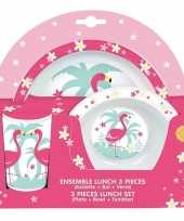 Goedkope flamingo thema plastic kinderservies set bord kom beker
