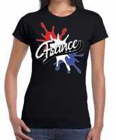 Goedkope france frankrijk t-shirt spetter zwart dames