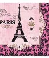 Goedkope frankrijk parijs thema servetten roze