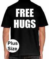 Goedkope free hugs grote maten poloshirt zwart heren